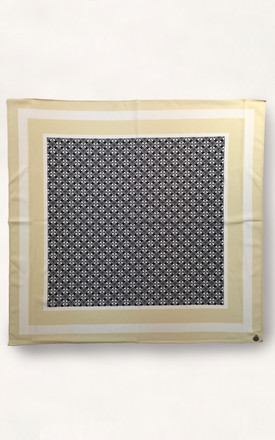 Cassia 100% Silk Square Scarf White Geo by Urbancode London Product photo