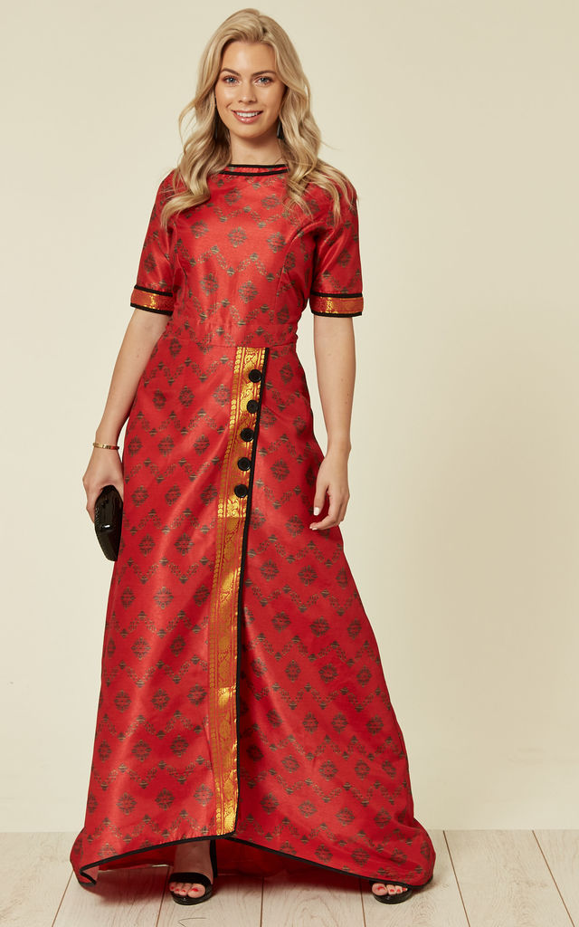 Short Sleeve Maxi Dress in Red Brocade Print by Nesavaali