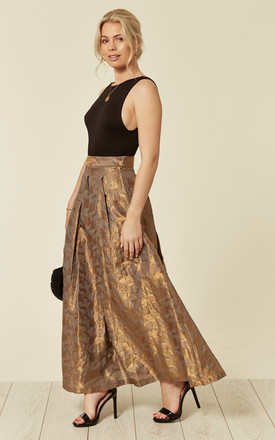 Flared and Pleated Maxi Skirt in Metallic Gold by Nesavaali