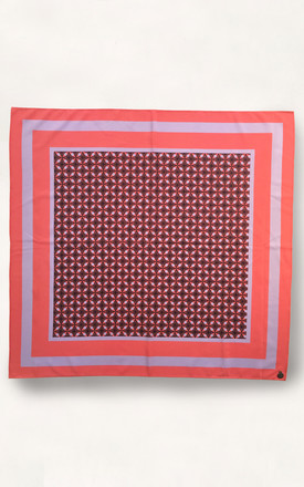 Cassia 100% Silk Square Scarf Strawberry Geo by Urbancode London