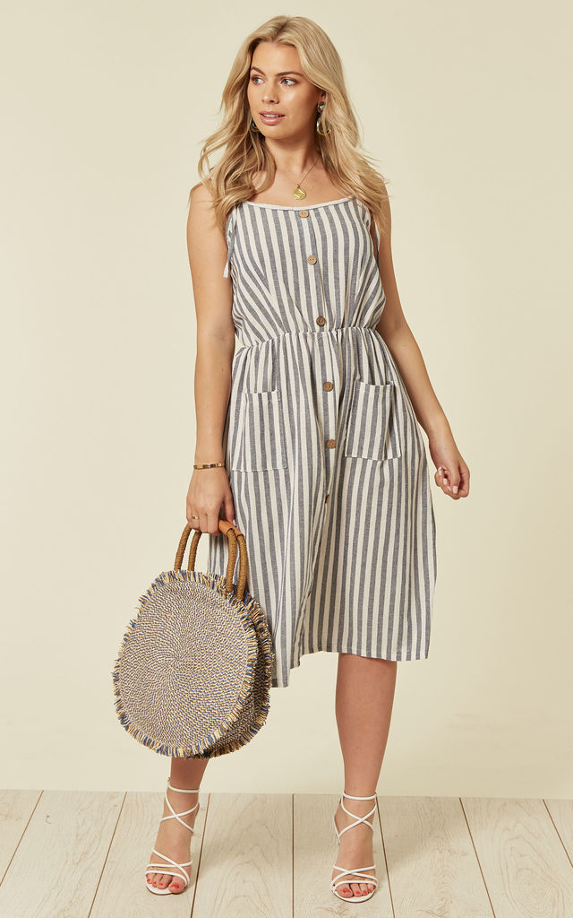 Striped Summer Dress With Buttons In Navy By Lucy Sparks