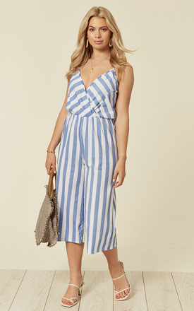 Striped Cross-over Jumpsuit in Blue by Lucy Sparks