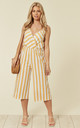 Striped Cross Over Jumpsuit In Yellow by Lucy Sparks