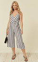 Striped Cross Over Jumpsuit In Black by Lucy Sparks