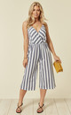 Striped Cross Over Jumpsuit In Navy by Lucy Sparks