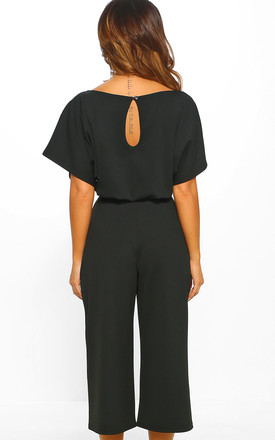 Always Chic Black Belted Culotte Jumpsuit by Pink Boutique