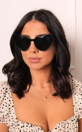 Lulu Angled Heart Womens Sunglasses In Black by One Nation Clothing