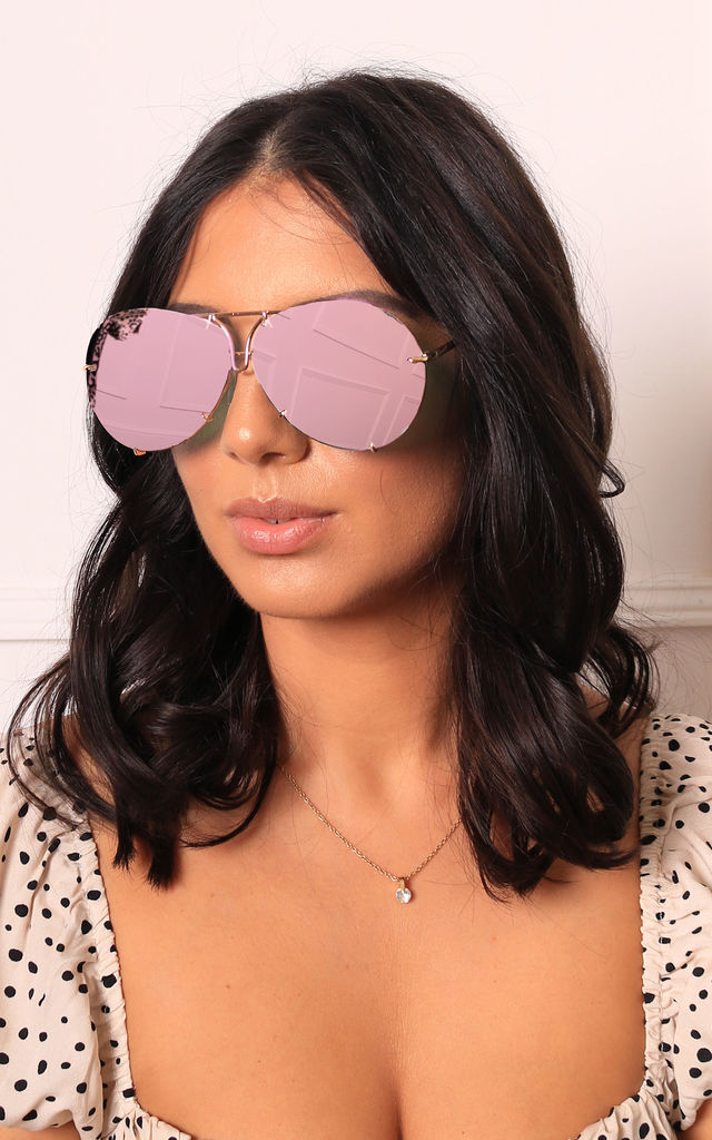 Kris Oversized Curved Lens Mirror Aviator Sunglasses in Pink Lens with Gold Frame by One Nation Clothing