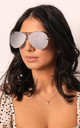 Kris Oversized Curved Mirror Lens Aviator Sunglasses in Silver Lens with Silver Frame by One Nation Clothing