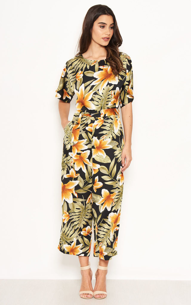 Tropical Print Belted Jumpsuit by AX Paris