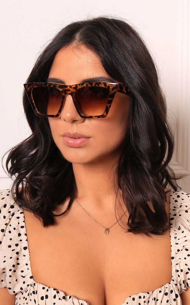 Edgy Angled Cateye Womens Sunglasses In Tortoise Shell Brown by One Nation Clothing