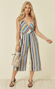 Striped Cross Over Jumpsuit In Multi by Lucy Sparks