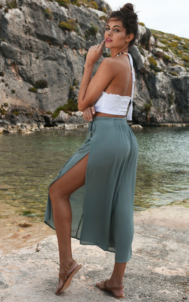 Side Split Holiday Trousers Wide Leg Verona Green by likemary