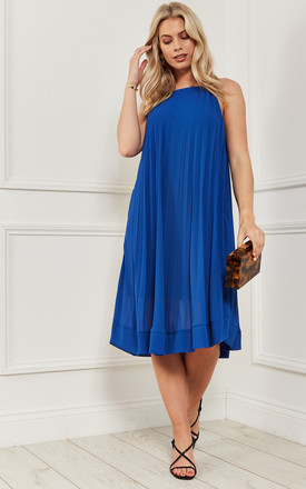 Pleated Strappy Midi Dress In Cobalt Blue by Bella and Blue Product photo