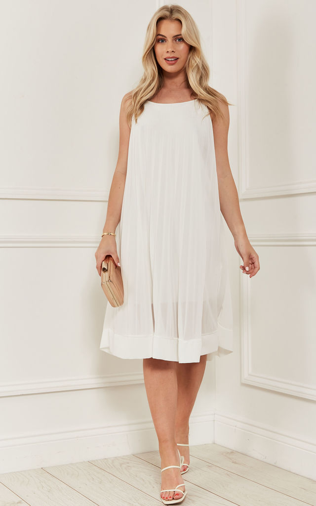 PLEATED STRAPPY MIDI DRESS IN WHITE by Bella and Blue
