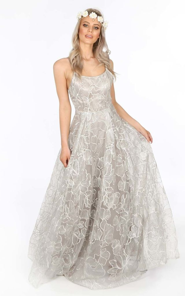 Bridal Grey Floral Embroidered Lace Maxi Dress By Dressed In Lucy