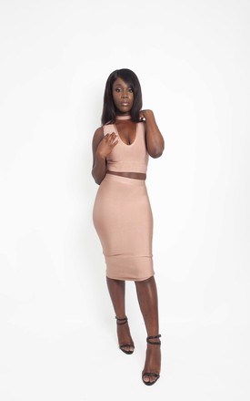 NEWYORK NUDE  TWO PIECE SKIRT AND TOP SET by IVY EKONG FASHION