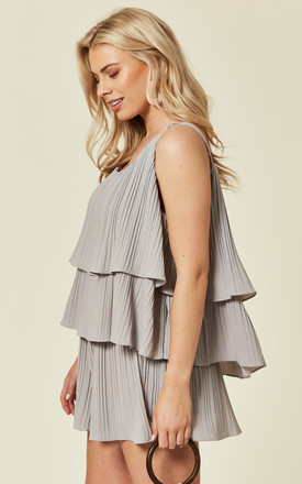 Fully Pleated Shorts And Vest Co Ord In Grey by Lucy Sparks
