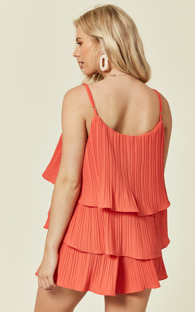 Fully Pleated Shorts And Vest Co Ord In Red by Lucy Sparks