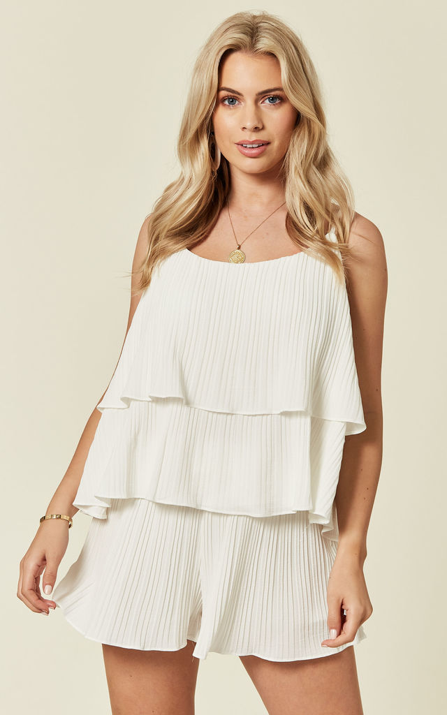 Fully Pleated Shorts And Vest Co Ord In White by Lucy Sparks