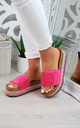 Hot Pink Embellished Slider Sandals by Larena Fashion