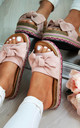Pink Embellished Bow Slider Sandals by Larena Fashion