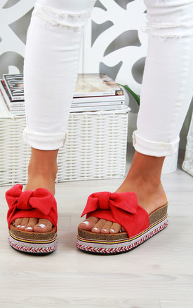 Red Embellished Bow Slider Sandals by Larena Fashion