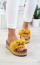 Yellow Embellished Bow Slider Sandals by Larena Fashion
