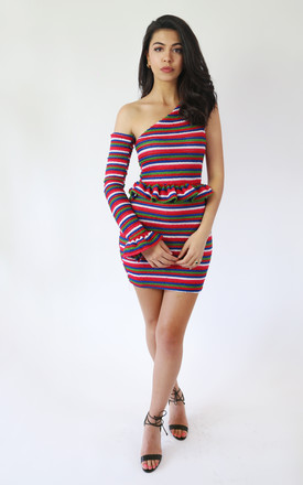 Crochet One Shoulder Mini Dress In Multicolour Stripe by The Lazy Ones Product photo