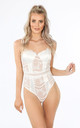 White Satin And Contrast Lace Bodysuit by Dressed In Lucy