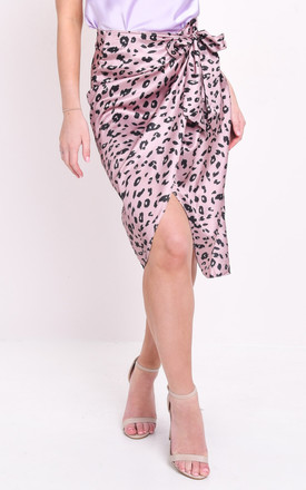 Leopard animal print satin wrap front midi skirt lilac purple by LILY LULU FASHION