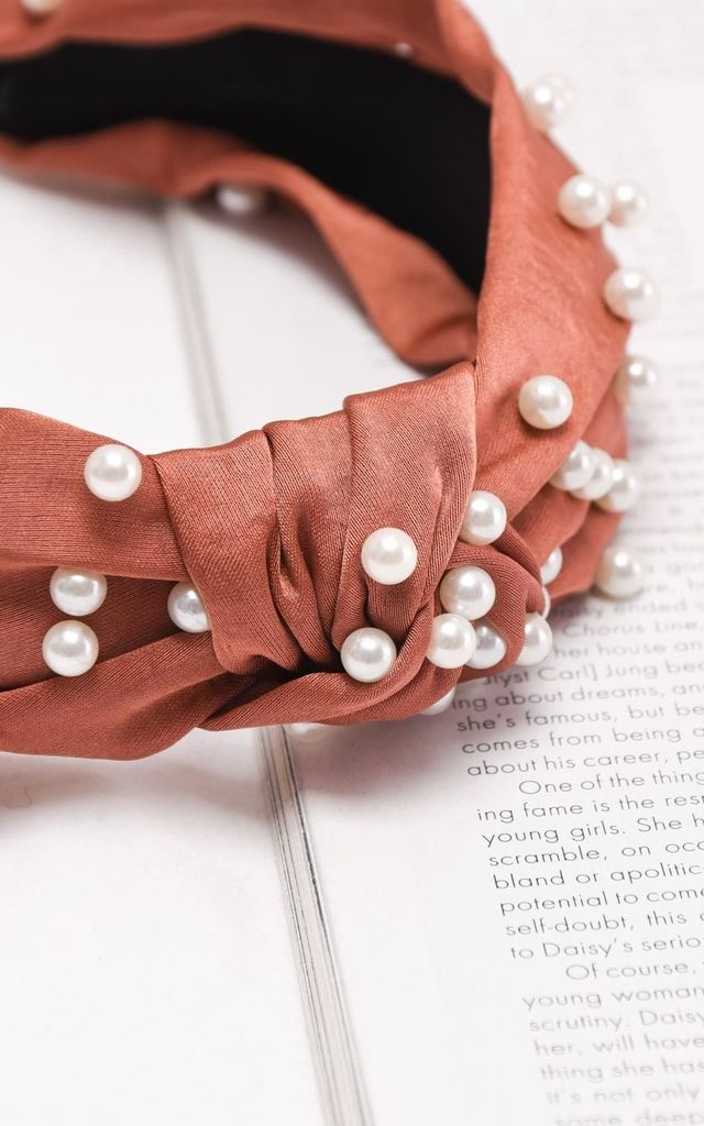 Satin pearl knot headband brown by LILY LULU FASHION