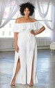 Plus Size White Bardot Frill Detail Split Leg Jumpsuit by Club L London