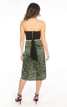 Green Satin Leopard Print Wrap Midi Skirt by Dressed In Lucy