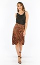 Tan Satin Leopard Print Wrap Midi Skirt by Dressed In Lucy