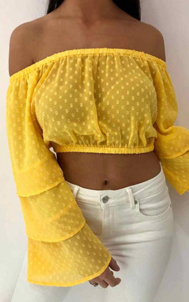 Bardot Long Sleeve Layered Blouse (Yellow) by Styled Clothing Product photo