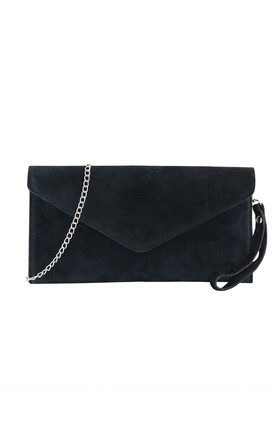 Black Suede Clutch Bag by AVAAYA