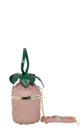 Pink pineapple shaped novelty handbag by Hello Handbag