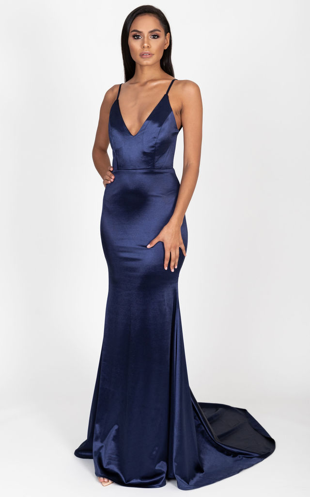 Allyson Satin Gown in Navy by Cari's Closet