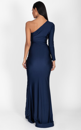 Gabriella One Shoulder Gown in Emerald Navy by Cari's Closet