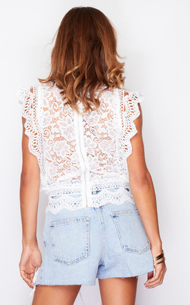 Harmony High Neck Lace Frill Detail Top White by Girl In Mind