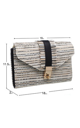 MEDIUM WEAVE PATTERN FLAP OVER PURSE in BLACK by BESSIE LONDON