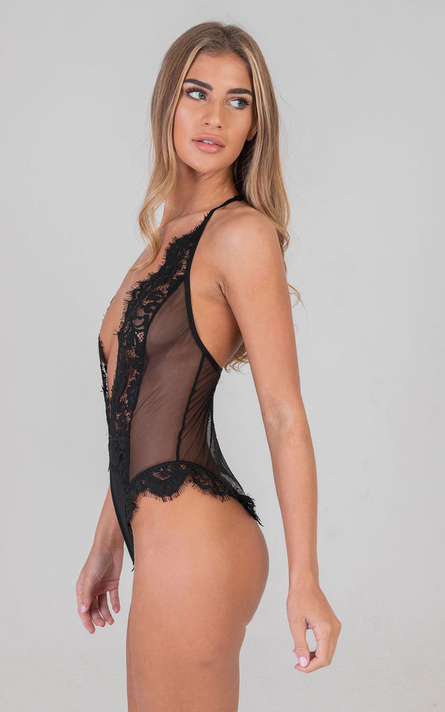 Deep V Detailed Lace Up Mesh Bodysuit Black by Saint Genies