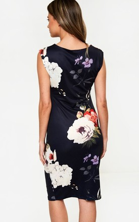 Floral Print Bodycon Dress in Navy by Marc Angelo