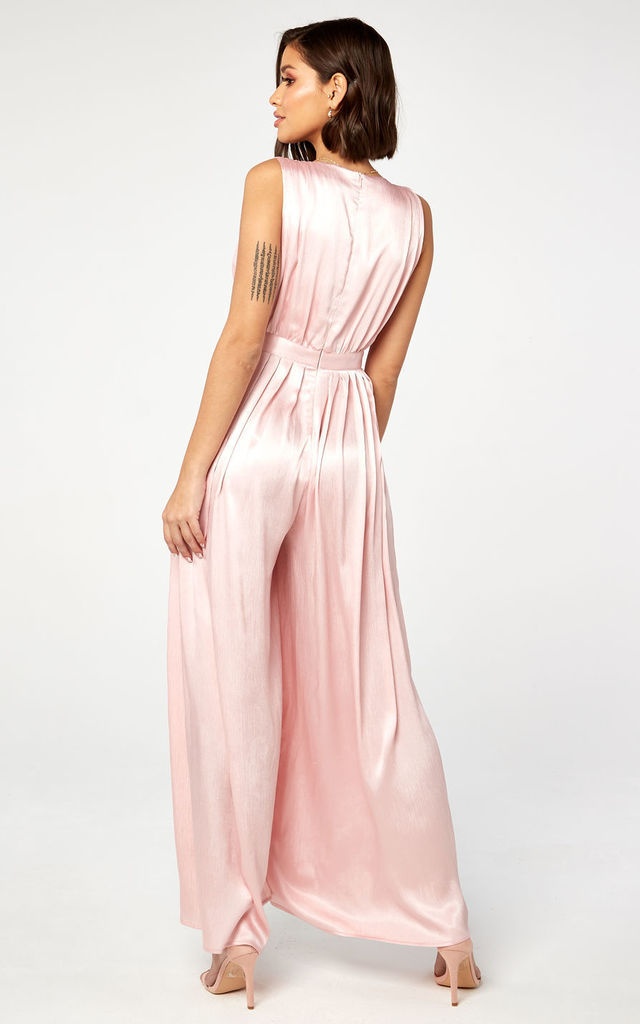 Pink Crinkle Satin Pleat Jumpsuit by The Girlcode