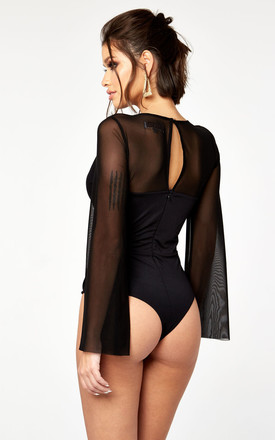 Wide Sleeve Mesh & Jersey Wrap Bodysuit by The Girlcode