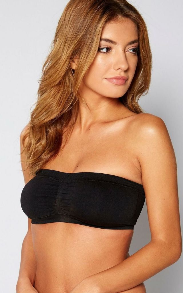 Black Seamless Padded Bandeau Bra by BB Lingerie