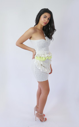 Crochet One Shoulder Mini Dress With Ruffle In White by The Lazy Ones Product photo