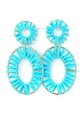 Turquoise Raffia Oval Earrings by Olivia Divine Jewellery