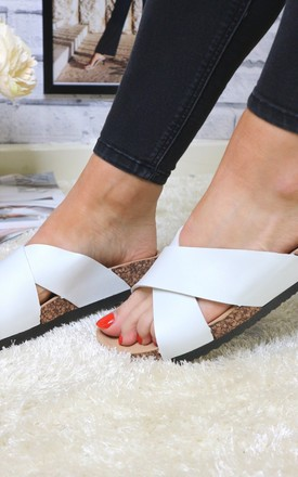 White cross strap slider by Bond Street Shoe Company